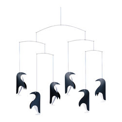 Flensted Mobiles - Penguin Talk Mobile - These South Pole gents will add a playful touch wherever they reside. Graphically pleasing, the mobile is perfect for those who only see things in black and white — like newborns! But, most adults won't be able to resist their charm either.