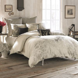 Anthology - Anthology Amour Embroidered Comforter Set - Romance and vintage flair are in perfect harmony with this beautiful bedding ensemble. The Anthology Amour comforter set features a beautiful all-over print on shades of antique gray and parchment.
