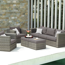 Upton Home - Upton Home Outdoor Wicker 5pc Set - Bring sophistication to the outdoors with this comfortable,contemporary deep seating set. A sofa,two chairs,two ottomans,and four pillows complete the Euro-styled look,while the ottomans double as cocktail tables,making it perfect for entertaining.