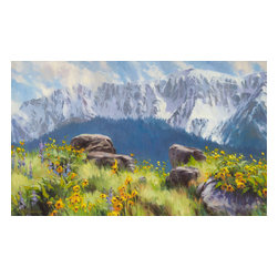 Steve Henderson Fine Art - The Land of Chief Joseph  Artwork -- Original Oil Painting - Original oil painting on canvas, 24 inches high by 40 inches wide. With the gold-colored, wood frame -- included with purchase -- the finished hanging size is 30 x 46. This is the original oil painting of a licensed work.