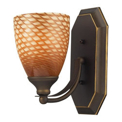 ELK Lighting - One Light Aged Bronze Coco Glass Bathroom Sconce - One Light Aged Bronze Coco Glass Bathroom Sconce