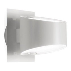"""Estiluz - Estiluz A-2520 Mikonos Wall Sconce - Product Details: The A-2520 Mikonos wall sconce by Estiluz has been designed by Leonardo Marelli. This beautiful wall sconce provides vertically diffused light and the lamping is available in either Incandescent or  energy efficient compact fluorescent lighting. The finish is available in either a shiny white or a Brushed Nickel finish. The diffusers are made of glass and provide warm and direct light ETL LISTED Details:                                     Manufacturer:                                      Estiluz                                                     Designer:                                     Leonardo Marelli                                                     Made in:                                     Spain                                                     Dimensions:                                      Height: 6.7"""" (17cm) X Diameter: 5.7 (14.4 cm) Depth: 7.5"""" (19cm)                                                     Light bulb:                                      1 x 100W E26 A19 BT15 incandescent (included) or 1 X 18W GU-24 base fluorescent (not included)                                                     Material:                                      Metal, Glass"""
