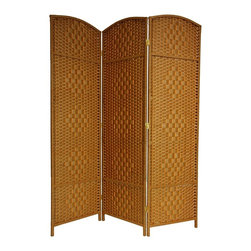 Oriental Unlimited - 6 ft. Tall Diamond Weave Fiber Folding Screen - Choose No. of Panels: 3 Panels (58.5 in. Total Width)19.5 in. Wide panels with attractive diamond weave medallions. Well built, lightweight wood frames with spun plant fiber cord. Distinctive rattan style folding screen. The spun plant fiber cord is able to hold dye beautifully, making rich, warm, beautifully colored decorative screens. Design allows some light and air to pass though the panels and does not shut light out completely. 3 panel shown. 19.5 in. W x 0.75 in. D x 71 in. H (per panel)Our new Diamond weave room partition is a practical accessory and beautiful decorative accent. The arch top panels are wider than most, almost 20 inches. Tough, durable spun plant fiber cord is interwoven with quarter inch thick wooden dowels. The distinctive diamond shape medallions are repeated 5 per panel, creating a stylish rattan look decorative screen as well as a slightly larger floor screen room divider.