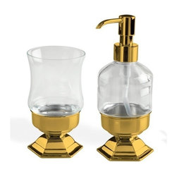 StilHaus - Gold Toothbrush Tumbler And Soap Dispenser Accessory Set - .