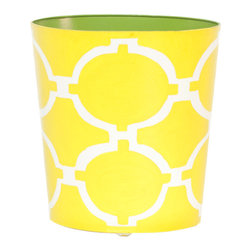 Worlds Away Oval Wastebasket, Yellow and Cream - Worlds Away Oval Wastebasket, Yellow and Cream