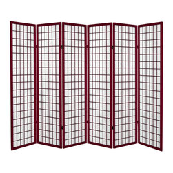 Oriental Furniture - 6 ft. Tall Canvas Window Pane Room Divider - Rosewood - 6 Panels - Have the look of a classic shoji window pane room divider on canvas! A remodeled version of our shoji screen, these canvas room dividers look like shoji but are created from a canvas material.