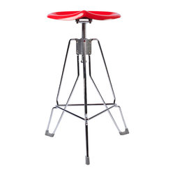 "Dulton - Dulton Barstool ""Clipper"", Red - The Dulton's clipper bar stool has a adjustable and ergonomics seating pad. Its unique tractor seat pad is calling for a industrial age. Rubbered feet triangulate structure is extremely steady. Perfect for heavy duty bar use."