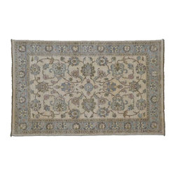 Oushak Rug, 100% Wool 4X6 Hand Knotted All Over Design Vegetable Dyes Rug SH8026 - Hand Knotted Oushak & Peshawar Rugs are highly demanded by interior designers.  They are known for their soft & subtle appearance.  They are composed of 100% hand spun wool as well as natural & vegetable dyes. The whole color concept of these rugs is earth tones.