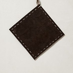 "Anthropologie - Stitched Leather Potholder - LeatherSpot clean6"" squareImported"