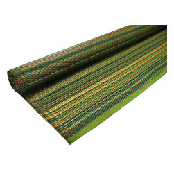 KOKO - Striped Floor Mat, Green Mix - These color combos are so serene. This mat would look great on a back patio since the color palette naturally complements all the hues of nature. And you will love how easy it is to clean the all-weather material.