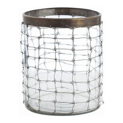 "Arteriors Home - Trudy Glass and Brass Link Hurricane by Arteriors - Use alone or line a few of these up. The chain link brass wire forms a grid pattern snugly wrapping around a glass hurricane. The top has an antiqued brass rim adding definition to the design. Add a flicker of candle light on your desk, kitchen counter or accent table. The Trudy Small Wire Link Hurricane by Arteriors will blend with any style decor. (ART) 9"" diameter x 11"" high"