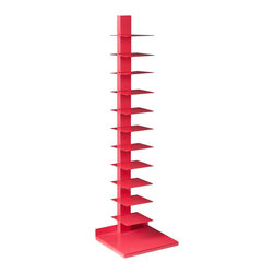 Holly & Martin - Holly & Martin Heights Book/Media Tower, Watermelon - Bring your home to life with a dash of color! This cheerful media tower becomes an artistic focal point in any room. The stand-up design saves valuable space and works well in large or small places. This tower features 11 metal shelves for storing books, magazines, movies, or decorative items. The bright, watermelon painted finish and powder-coated metal combine for long-lasting quality. This extremely versatile tower works as a bookshelf in the bedroom, a media stand for the family room, or even as a towel stand in the bathroom. The bold color works best in transitional to modern homes. Please note: Our photos are as accurate as possible, but color discrepancies may occur between the product and your monitor. The handcrafted touch of artisan skill also creates variations in color, size, and design; slight differences should be expected.