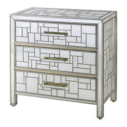 Currey & Company - Birkhall Chest of Drawers - This 3 drawer chest is great for storage as well as being a showstopper in any room. It is accented with a geometrical design made from mirror strips.