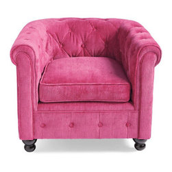 Grandin Road - Harrison Chair in Pink Velvet - Handsome tufted chair with a low profile. Glossy black turned feet. Choice of cut velvet or high-quality pleather upholstery. Free Swatches Available. Own the signature piece of our David Bromstad Home by Grandin Road Collection: the David Bromstad Harrison Chair. Hand-tufted to the highest standard, right here in America. Rolled arms and a low back create a striking silhouette that recalls the sleek glamour of the Art Deco age. Make it your own with one of our many colorful, cut velvet fabrics or faux leather choices.  .  .  . A Grandin Road exclusive.