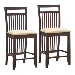 """Leick Furniture - Leick Furniture Wood Slat Back 24"""" Stools in a Wenge finish (Set of 2) - Leick Furniture - Bar Stools - 10080WG/CR - A deep wenge wood finish on slatted design elements offers a visual treat and on these sturdy counter stools.  Constructed of solid hardwood with a crowned seat padded for comfort and upholstered in Cream Faux leather."""
