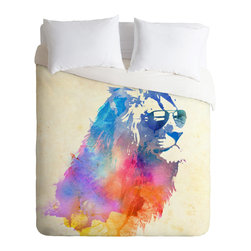DENY Designs - Robert Farkas Sunny Leo Duvet Cover - Turn your basic, boring down comforter into the super stylish focal point of your bedroom. Our Luxe Duvet is made from a heavy-weight luxurious woven polyester with a 50% cotton/50% polyester cream bottom. It also includes a hidden zipper with interior corner ties to secure your comforter. it's comfy, fade-resistant, and custom printed for each and every customer.