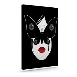 """Kess InHouse - Thomas Fuchs """"Butterfly Eyes"""" Black White Wrapped Art Canvas (20"""" x 16"""") - Bring your outdoor patio to life with this artistic outdoor canvas wrap featuring gorgeous artwork by KESS InHouse. These canvases are not only easy to hang and remove but also are the perfect addition to your patio collection. These canvases are stretched around a wooden frame and are built to withstand the elements and still look artistically fabulous. Decorating your patio and walls with these prints will add the splash of art and color that is needed to bring your patio collection together! With so many size options and artwork to choose from, there is no way to go wrong with these KESS Canvas Wraps!"""