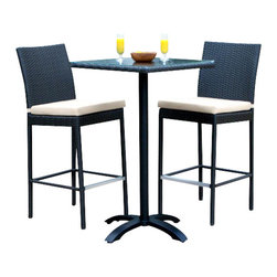 MangoHome - Outdoor Patio Wicker Furniture New Resin 3-Piece Dining Bar Table & Barstool Set - Outdoor Patio Wicker Furniture New Resin 3-Piece Dining Bar Table & Barstool Set
