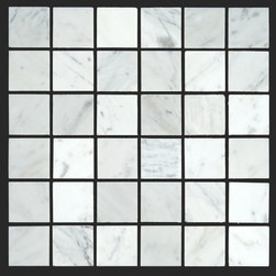 Bianco Carrara White Marble Carrera 2x2 Mosaic - The Bianco Carrara collection or white Carrara Collection allows you to play with colors for your interior. Besides getting a lovely option of pure white on tile, this collection also features a white grey hue to try. With these two colors you can create a modern or classic looking theme in your home according to preference.