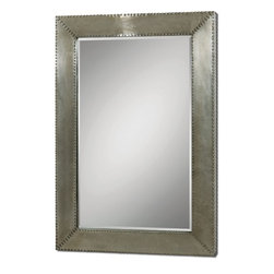 """Uttermost - Rashane Rectangle Silver Champagne Aluminum Mirror - Lightly stained, silver-champagne aluminum frame with decorative nail head trim. Mirror features a generous 1 1/4"""" bevel. May be hung horizontal or vertical. Shown with item #24290."""