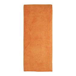 MU Kitchen Microfiber Towel Orange - These beautiful kitchen towels are made from the revolutionary microfiber  a specially designed cloth that is woven in a unique pattern from polyester fibers that create tiny scoops that suck up dirt and attract micro-particles. Microfiber is softer than silk and stronger than cotton. The cloth is so well crafted  it renders harsh cleaning chemicals entirely unnecessary.Product Features                      Microfiber          Lint and streak free cleans and polishes like no other wet or dry          Nonabrasive and safe on virtually any surface          Super absorbent - holds 7 times its weight in liquid          Quick drying - 10 times faster drying time          Reduces bacteria growth with quick drying time          Finished with a hanging loop for convenience