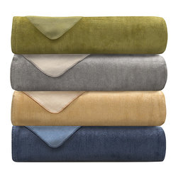lacozee - Lacozee, Cashmere soft Cotton Reversible Blanket, Imported from Portugal, Sage / - Soft feel and penetrating warmth is what this  cotton blend /reversible bedding blankets offer for the ultimate in sleeping pleasure plus its updates to a beautiful bedroom decor! • These Outstanding Cotton Blend Bedding Blankets are made using top quality fabri. The secret of this amazing blanket is in the construction of the extra fine blankets and hold in the warmth during the cold winter season and allow breathable comfort in the warmer summer months. These blankets are imported from Portugal: care: Machine Washable Contents: 60% Cotton 40% Acrylic • Come in a variety of colors as follows: Sage Green reversing to lighter green , Camel reversing to Ivory, Blue reversing to light Blue, Grey reversing to Ivory Size: Throw 50x70 Twin 70x93, Queen 96x93 King 114x93