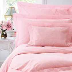 Pink Gingham Bed Linen - Cologne & Cotton - This very pretty pink and white gingham bed linen is woven in the softest of 100% pure cotton. Pillowcases and flat sheets with a spoke stitch detail. All duvet covers closed with buttons.