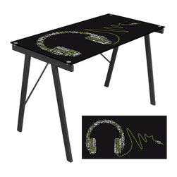 Lumisource - Graphic Top Exponent Desk - Headphone - Add personality to your workspace with one of the Graphic Top Exponent Desks, featuring a unique artistic print. . Whether its used as a desk or drafting table, the tempered glass top and steel frame wil ensure that you get your work done with ease. . 22.75 in. L x 44.50 in. W x 28.75 in. H