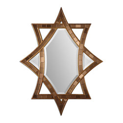 Uttermost - Zorion Mosaic Mirror - This Decorative Mirror Features A Frame Made Of Small Pieces Of Copper Bronze Glass Finished In Heavily Antiqued Gold Leaf. Mirror Is Beveled. May Be Hung Horizontal Or Vertical.