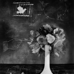 Parlor Tricks - Original Fine Art Photography - This original photography is part of a series on magic tricks. It captures the motion of a bouquet of flowers opening, triggered by an imaginary hand pulling a string. The tiny bird in the upper left corner is a photogram that seems to be captured in a small collapsible magician�s birdcage. The strange diagrams provide explanations of the tricks but also add to the mystery of the photograph.