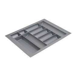 Hafele - 24 in. Cutlery Tray in Silver - Can be trimmed to fit drawer. Warranty: One year. Made from plastic. Made in Germany. Material thickness: 0.09 in.. For cabinet width: 30 in.. For drawer height: 2 in.. Overall: 24 - 28 in. W x 19.25 - 21.25 in. D