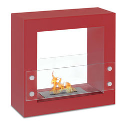 "Ignis Products - Tectum Mini Red Freestanding Ventless Ethanol Fireplace - Bestow country cabin charm on your modern space by installing this Tectum Mini Red Freestanding Ventless Ethanol Fireplace. This super sleek ethanol fireplace is just the thing to bring warmth and hominess to the starkest interiors. Forget the fuss and mess of a traditional fireplace; this unit burns cleanly and efficiently, thanks to its 1.5-liter ethanol burner insert that throws 6,000 BTUs of heat your way. With just one refill, this fireplace can give you five hours of burn time for snuggling, napping, and cuddling in front of the fire. It is also packaged with a damper tool and user's manual for your convenience. Dimensions: 23.5"" x 23.5"" x 9"". Features: Ventless - no chimney, no gas or electric lines required. Easy or no maintenance required. Freestanding - can be placed anywhere in your home (indoors & outdoors). Capacity: 1.5 Liters. Approximate burn time - 5 hour per refill. Approximate BTU output - 6000."