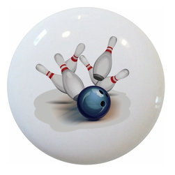 Carolina Hardware and Decor, LLC - Bowling Sports Ceramic Knob - New 1 1/2 inch ceramic cabinet, drawer, or furniture knob with mounting hardware included. Also works great in a bathroom or on bi-fold closet doors (may require longer screws). Item can be wiped clean with a soft damp cloth. Great addition and nice finishing touch to any room!