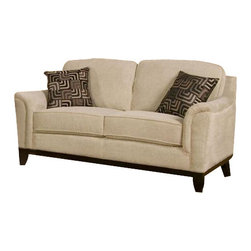 Coaster - Love Seat (Cream) By Coaster - This Carver Beige Chenille Upholstered Loveseat w/ Exposed Wood Base by Coaster has a beige chenille fabric that creates a soft and inviting look, while providing a neutral foundation for your home. Its casual style will brighten up your living room. It is in stock and we will give it to you with no extra charges. Dimension: Carver Contemporary Beige Chenille Upholstery Love Seat -- Coaster 502472 ( 68 x 41 x 35)
