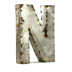 "Kathy Kuo Home - Industrial Rustic Metal Small Letter N 18""H - Create a verbal statement!  Made from salvaged metal and distressed by hand for an imperfect, time-worn look."