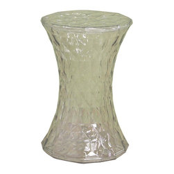 Wholesale Interiors - Baxton Studio Clear Textured Acrylic Hourglass Accent Table - Intriguing Baxton Studio occasional table is clearly a winning design. This unique translucent acrylic table features a distinctive hourglass shape and innovative textured finish. It is the perfect accent table to blend with any decor, and the compact and lightweight design makes it easy to move from room to room in your home or office. This unusual modern table is sure to spark interesting conversation. Are you looking for a certain unique piece of furniture to reflect your personality or make a bold statement? Look no further than this prismatic pedestal/side table. Constructed out of transparent plastic, the top and bottom surfaces are flat and solid, allowing you to place items sturdily on top. Certainly pleasing to the eye, the modern side table is versatile enough to interact well with a variety of different types and styles of decor and may also be used as a stool.
