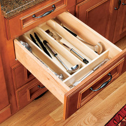 Wood Classics Utility Tray Insert - Organize kitchen drawers with Rev-A-Shelf's Wood Utility Tray Insert. The 4WUT Series is made of our classic maple hardwood with a UV-cured clear finish to ensure an acceptable match to any kitchen cabinet. This modern day clutter solution requires a simple drop-in installation with two sizes that may be trimmed to fit various drawer sizes.