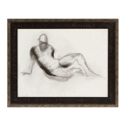 Pre-owned Charcoal Nude by Deborah Weinstein - A soft figural charcoal drawing of a nude male form on paper by Deborah Weinstein, 1970s. The piece has been newly framed and is in excellent condition.