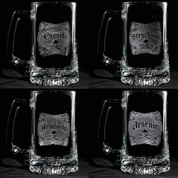 Crystal Imagery, Inc. - Name Your Poison Beer Mug Set of 4 - Elegant, edgy and witty, these beer mugs will always be welcome at a party. Artfully engraved with vintage-style poison labels, they've got that seductive combination of charm and danger that defines any guilty pleasure. Perfect for your home bar or as a clever gift.
