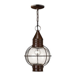 Hinkley Lighting - Hinkley Lighting Cape Cod Transitional Outdoor Hanging Light X-ZS2022 - From the Cape Cod Collection, this Hinkley Lighting outdoor hanging light features a charming maritime inspired look complete with a spherical caged globe design. The frame is finished in an earth toned Sienna Bronze that compliments the nautical inspired design. A clear seedy glass diffuser ensures optimal outdoor security lighting.
