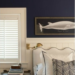 Linen Upholstered Headboard, Wave, Oyster Linen with Navy Welt - This Wave headboard is my new favorite, and I would absolutely love to use it in my dream bedroom! The white with navy piping has such a nautical feel.