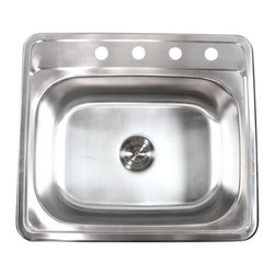 """Ariel - 25 Inch Top-Mount / Drop-In Stainless Steel Kitchen Island / Bar Sink - 18 Gauge - Perfect for use in kitchens or bars, pair this sink with matching stainless steel faucet and soap dispenser. Made from high quality 18 gauge stainless steel. Dimensions 25"""" x 22"""" x 9""""."""