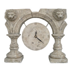 "Roman Ruins Clock an Ancient Greek and Rome Old-fashioned style, 10.2""H -"