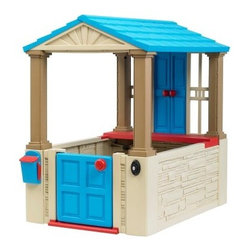 American Plastic Toys My First Playhouse - Facilitate your child's creativity and imagination with American Plastic Toys' My First Playhouse. This playhouse features many realistic details that are sure to delight your children. The molded plastic exterior mimics real roofing shingles brick siding and wooden shingles. The door and shutters open and close easily while the exterior mailbox features a flag that moves up and down. The included interior tabletop gives your child a place to color or set cups and snacks. Supply two AAA batteries and the doorbell will ring out loud and clear. This playhouse is suitable for both indoor and outdoor use; indoors this playhouse has the additional benefit of moving easily from room to room while fully assembled. Proudly made in the USA under stringent safety guidelines with the majority of materials being produced on American soil you can rest assured that this playhouse will provide hours of safe role-playing fun. About American Plastic ToysSince 1962 American Plastic Toys has proudly manufactured safe toys in the United States. The company's product line includes more than 125 different items ranging from sand pails and sleds to wagons and play kitchens. American Plastic Toys assembles every one of the toys in its product line in the United States. Most of the components in American Plastic Toys products are molded in the company's own plants or purchased from U.S. companies. Toys with imported components (mostly sound components and fasteners - no painted components) represent only 25 percent of the entire product line. Every American Plastic Toys product is tested by at least one independent U.S. safety-testing lab to ensure that it complies with applicable safety standards.