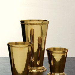 Polished Brass Julep Cups - Mint julep cups are favored by many for drinking. However, repurposing them into pencil and pen holders brings a bit of class to your desktop, especially in the brass finish.