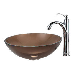 Kraus - Kraus Clear Brown Glass Vessel Sink and Riviera Faucet Chrome - *Add a touch of elegance to your bathroom with a glass sink combo from Kraus