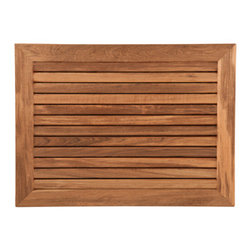 """Teakworks4u - Teak Mat with Wide Frame (30"""" x 23"""") - Naturally mold and mildew proof due to its high oil content, this bath mat will serve you in style for years to come. The inherent beauty of teak is sure to complement your bathroom accessories and create a perfect decorative accent. Naturally high silica content makes this piece incredibly slip resistant. Crafted with quality wood, countersunk screws and rubber footing to protect your floors, this teak mat is nothing short of an investment. Proudly made in the U.S.A."""