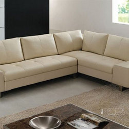 Refined Italian Top Grain Leather Sectional Sofa - Dimensions: