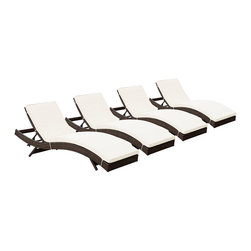 Modway - Modway EEI-1176 Peer Chaise Set of 4 in Brown White - Don't let moments of relaxation elude you. Peer is a serenely pleasant piece comprised of all-weather cushions and a rattan base. Perfect for use by pools and patio areas, chart the waters of your imagination as you recline either for a nap, good read, or simple breaths of fresh air. Moments of personal discovery await with this chaise lounge that has fold away legs for easy storage or stackability with other Peer lounges.