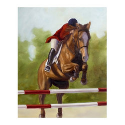 "Trademark Global - Horse of Sport III by Michelle Moate - Giclee - Giclee on canvas. Ready to Hang Wall Art. Professionally mounted on a lightweight wooden frame. 36 in. W x 48 in. H x 1. 5 in. depthGiclee (jee-clay) is an advanced printmaking process for creating high quality fine art reproductions. The attainable excellence that Giclee printmaking affords makes the reproduction virtually indistinguishable from the original artwork. The result is wide acceptance of Giclee by galleries, museums, and private collectors.Now you can experience all the passion and spirit of Michelle Moate's atmospheric artwork. ""Horse of Sport III"" will add class to any home or office decor.Born in Pensacola, Florida in 1970, Ellen King's (now known as Michelle Moate) artistic talent began to reveal itself in the form of drawing at an early age. She studied art and psychology at Wesleyan College in Macon, and later at Oglethorpe University in Atlanta. From there her interests turned toward computer art forms, which led her to attend the Art Institute of Atlanta and the Atlanta College of Art. After studying mostly computer animation, her need to express herself through paint and charcoal intensified. She began painting for the art market in 1997, and before her return to Florida, she gained notoriety within the Atlanta area as a premier local artist. She was also nominated for national recognition through the Academy of Fine Art Foundation's fine arts award program in 2002. She has consistently donated art for various charities, and has attended art shows throughout the southeast, as well as Art Expo New York in 1998, 1999, and 2002.Ellen's work evokes a mood of warmth and passion through the colors of her palette. From horses to wine, her art demonstrates her own personal connection with the subjects. Her overall style is impressionistic, and sometimes a few contemporary mediums are added to enliven the compositions and give them more pizazz. Ellen states: ""I took on the role as artist to appease the desire within my soul, which is to create art that allows me to lose myself in the images, as well as captivate my audience. "" Her success as an artist is attributed to her loyal clients and frequent public appearances. Ellen enjoys speaking with people about her art in local town squares, and in restaurants where she frequently sets up her easel to paint. She says, ""Painting outdoors or on location is a great way to get inspired and share my ability and knowledge of art with others. People love to watch me paint; they are immediately captivated and will express their interest in art or how the image I'm working on effects them. The experience is very rewarding. ""Ellen paints at her home-based studio in Okeechobee, Florida, where she constantly brings new ideas to life."